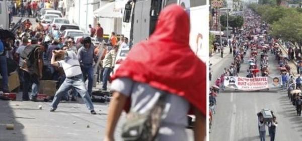Se enfrentan maestros de la S-7 de Chiapas con policías federales