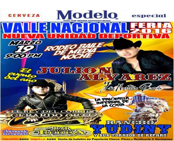 Circula cartel anunciando a Julión Álvarez y Gerardo Ortiz en Valle Nacional