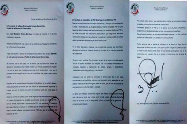 Renuncia Benjamín Robles al PRD