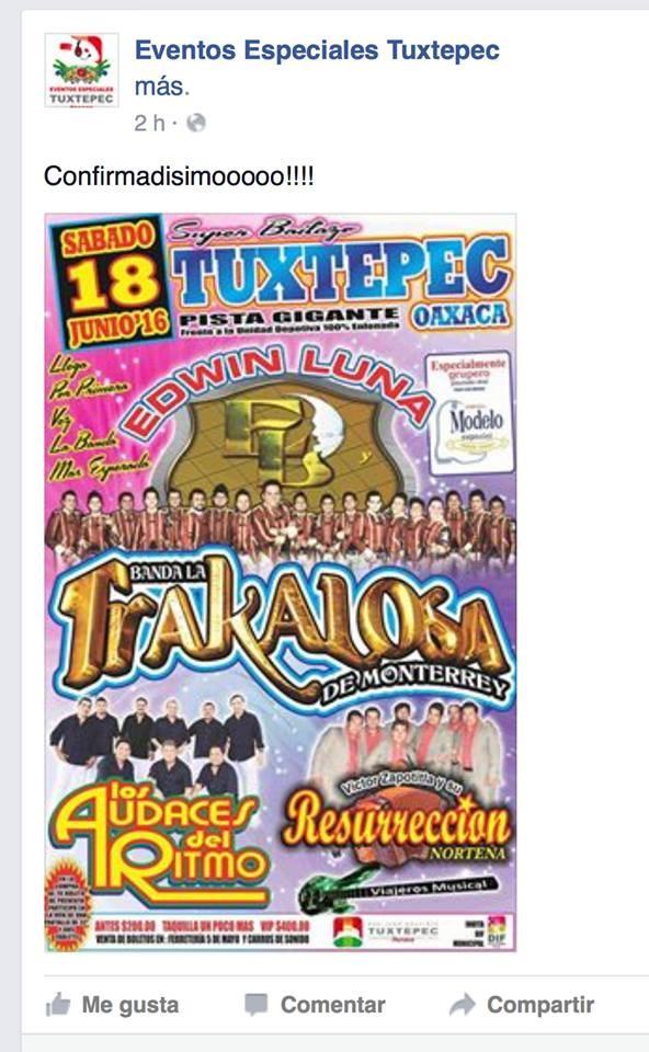 """Anuncian nueva fecha para el concierto de """"La Trakalosa"""" en Tuxtepec"""