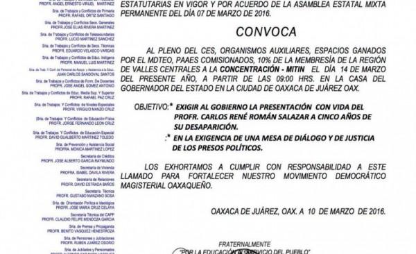 CNTE protestará en la casa del Gobernador