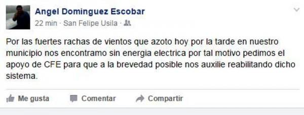 Usila se queda sin energía eléctrica