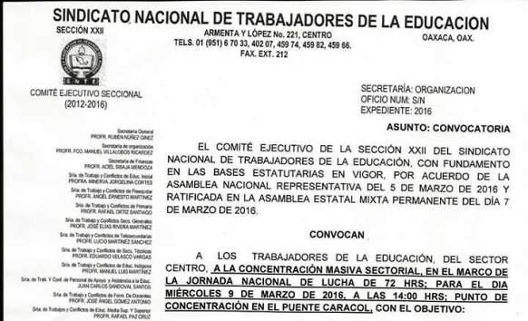 Convoca S-22 a concentración masiva en Tuxtepec