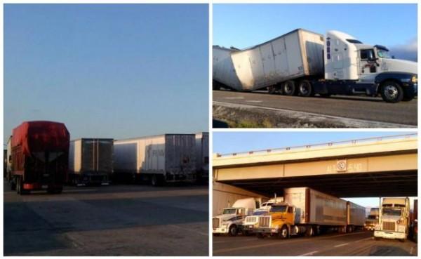 Continúan varados traileros en La Ventosa