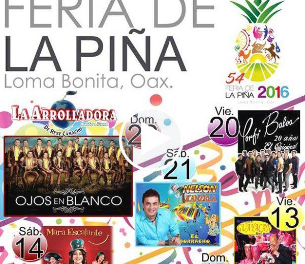 """Dan a conocer cartelera oficial de la """"Feria de la piña"""" 2016"""