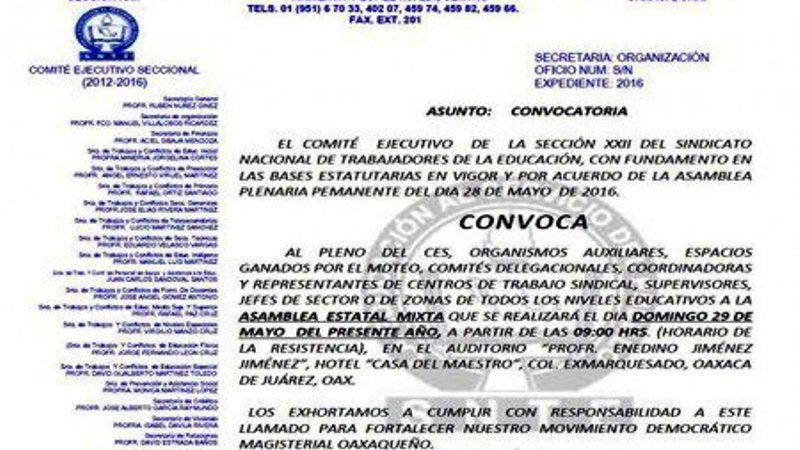 Realiza Sección 22 Asamblea Estatal Mixta, este domingo