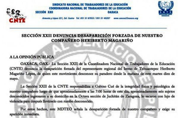 Califica Sección 22 como 'desaparición forzada' detención de profesor