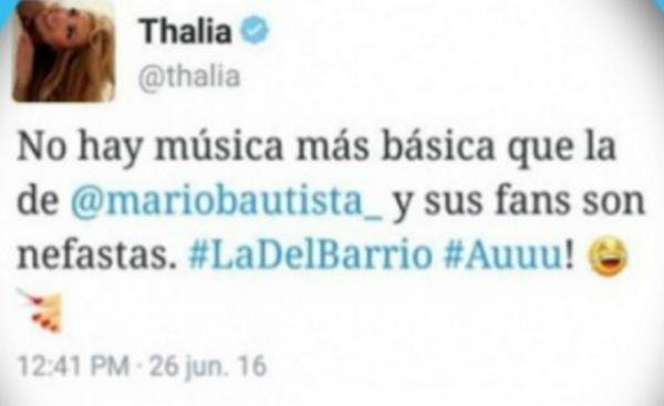 Thalía no midió sus comentarios y arremete ¡contra música de Mario Bautista!
