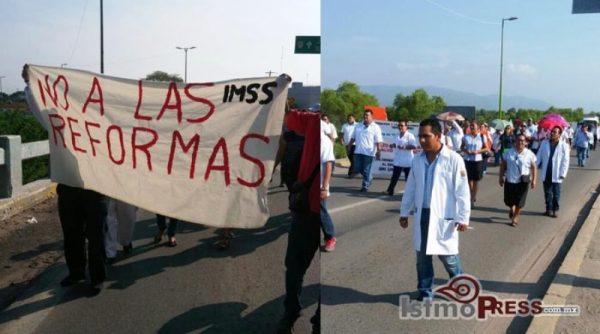 Se suman trabajadores del sector Salud en apoyo a la sección 22 Istmo
