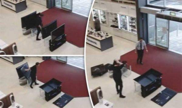 #VIRAL  Cliente quería probar un televisor y ¡rompe cuatro!