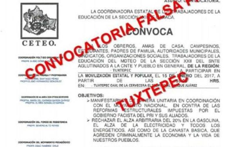 Tras convocatoria falsa, S-22 decide marchar en Tuxtepec por gasolinazo