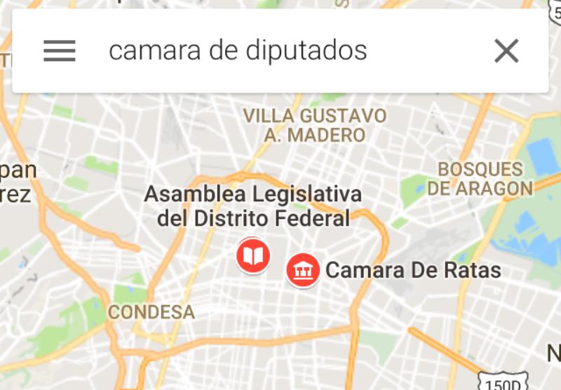 La Cámara de Diputados apareció en Google Maps como 'Cámara de Ratas'
