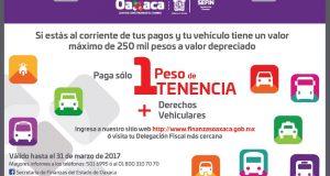 Cobrarán 1 peso por la tenencia de vehículos en Oaxaca