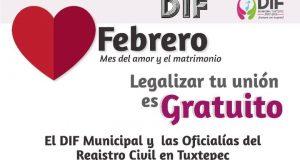 DIF Tuxtepec inicia captación de solicitudes de matrimonio