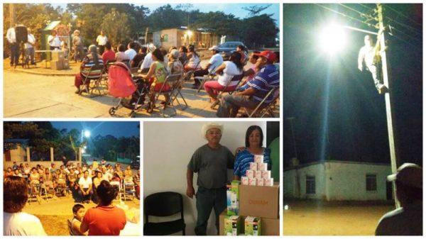 Realiza Karina Baron entrega de lámparas en Palo Gacho