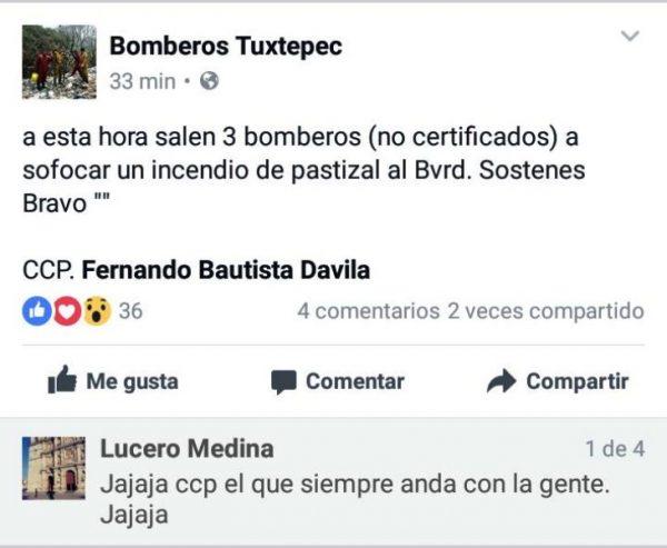 Bomberos le manda dedicatoria a Davila en redes.