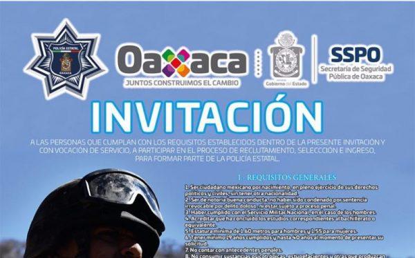 Abren convocatoria para formar parte de la Policía Estatal de Oaxaca