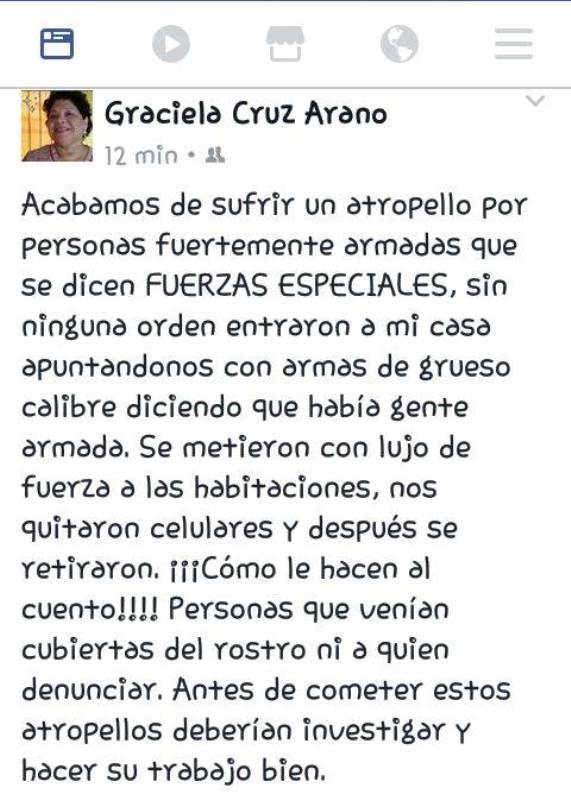 Exige Graciela Cruz Arano, disculpa tras sufrir atropello por parte de Fuerzas Especiales