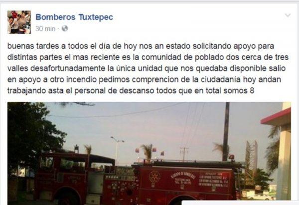 Bomberos de Tuxtepec son rebasados por incendios