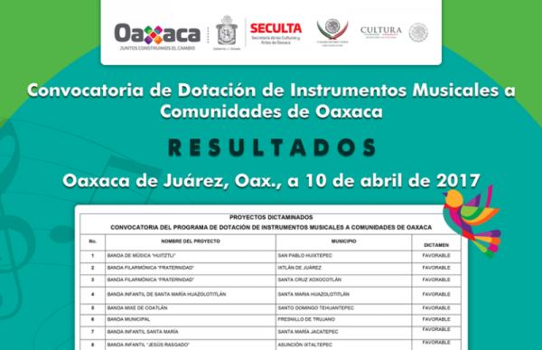 Más de dos millones de pesos en instrumentos para Oaxaca
