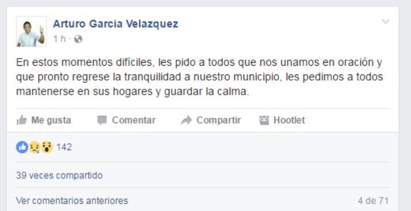Tras violencia, Edil de Jalapa de Diaz pide orar por su municipio