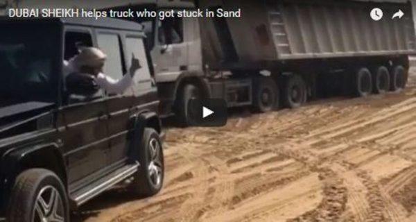 Príncipe de Dubái ayuda a un grupo de trabajadores a sacar su camión atascado en el desierto (VIDEO)