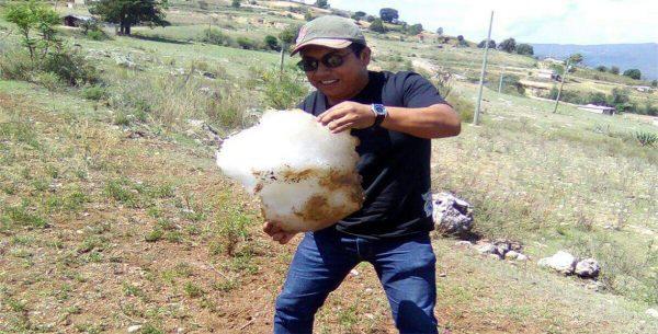 Cae mega granizo en la mixteca de Oaxaca