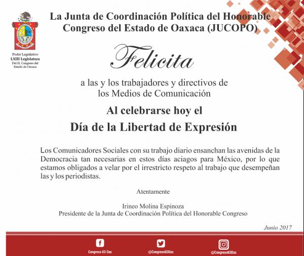 Felicitación de la JUCOPO a periodistas con Motivo del Día de la Libertad de Expresión en México