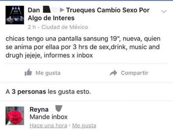 Trueque sexual en Facebook; la nueva forma de prostitución