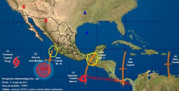Depresión tropical 9-E se forma al sur de las costas de Oaxaca