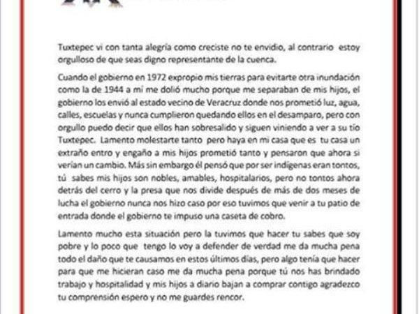 Carta de un poblano a dirigida a Ojitlán desde Tuxtepec