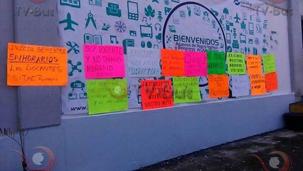 Sindicato Independiente se manifiesta en el CONALEP, exigen respeto a los horarios