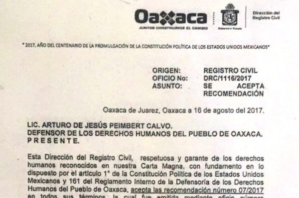 Acepta Dirección del Registro Civil, recomendación sobre registro de nacimiento  de niña en Huatulco negado en los términos que el padre solicitó en agosto de 2015