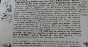 Presidente de Ayotzintepec violando la ley, destituye a la Síndico y llama a suplente