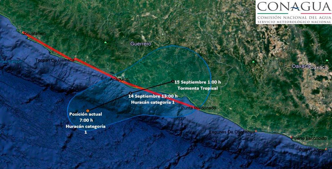 Evolucionó 'Max' a huracán categoría 1: Frente a Guerrero