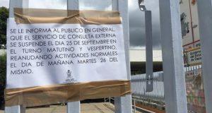 Mantienen cerrado el hospital civil a la consulta externa