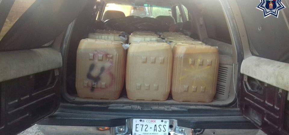 Reporta policía estatal aseguramiento de vehículos y combustible en la Cuenca