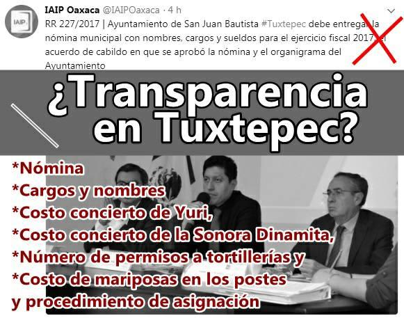 IAIP de Oaxaca ordena al Ayuntamiento de Tuxtepec dar información