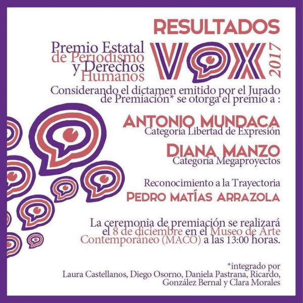 Periodista de Tuxtepec gana premio estatal de periodismo y derechos humanos