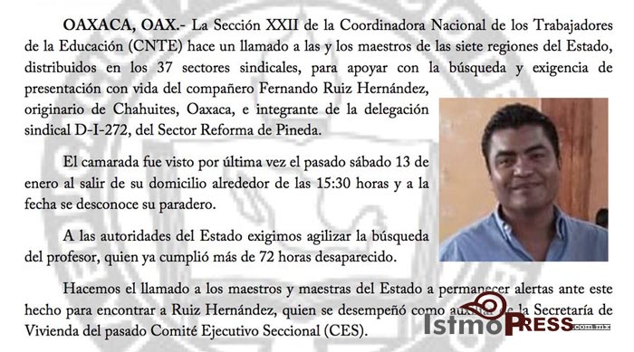 Pide Sección 22 aparición con vida de profesor desaparecido en el Istmo