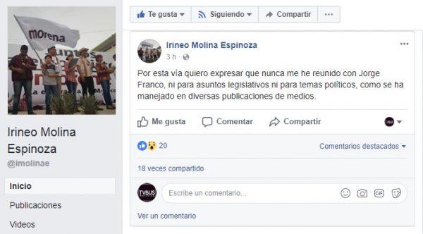 """Aclara Irineo Molina que no se ha reunido con """"el chuky"""""""