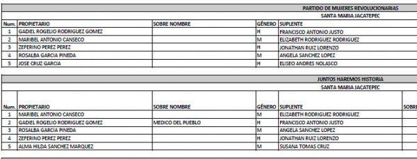 En Lista oficial del IEEPCO, Candidato de Jacatepec registrado en 2 Partidos