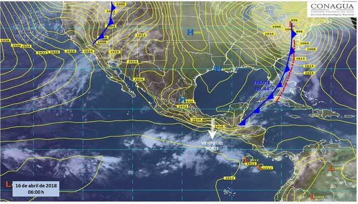 Nuevo frente frío afectará al país con lluvias y fuertes vientos