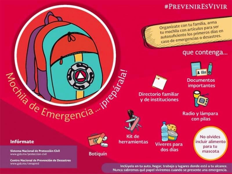 Prevención ante sismos… alista una mochila de emergencia