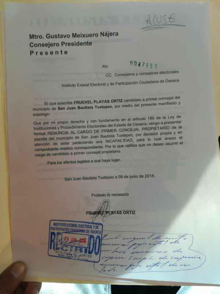 Que siempre no, Fruevel renunció a Candidatura a la presidencia de Tuxtepec