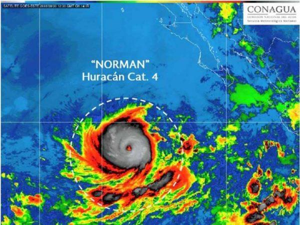 Toma fuerza el huracán 'Norman' y ya es categoría 4