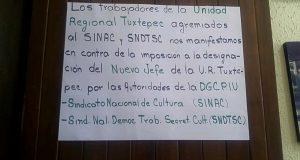 Protestan trabajadores de Culturas Populares en Tuxtepec por designación de nuevo jefe