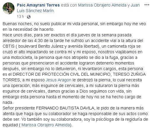 Acusan a Jefe de PC de Tuxtepec de no hacerse cargo de gastos médicos tras accidente
