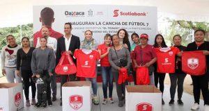 En conjunto con Scotiabank, Ivette Morán de Murat inaugura cancha de fútbol 7 en la unidad deportiva