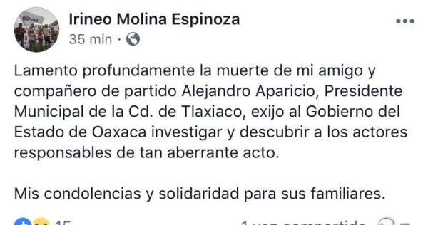 Exige Irineo Molina investigación ante el asesinato del edil de Tlaxiaco